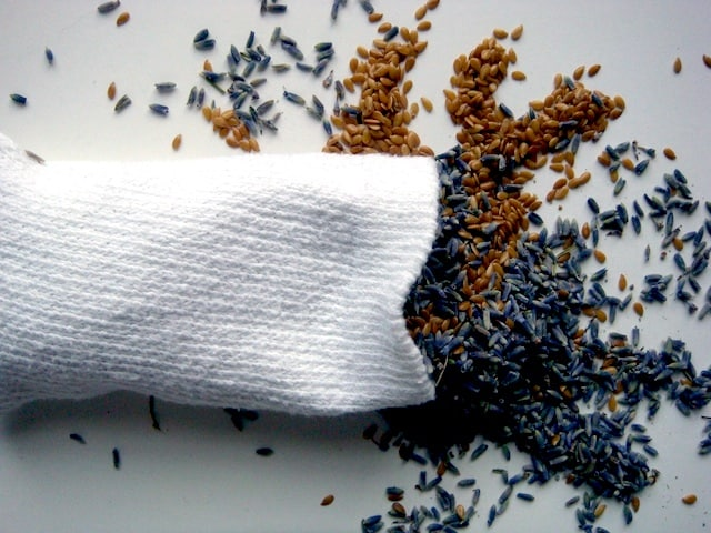 white sock overfilled with flaxseed lavender