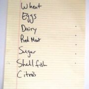 yellow lined paper with words: wheat, eggs, dairy, red meat, sugar, shell fish, and citrus