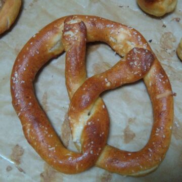 golden brown pretzel with salt