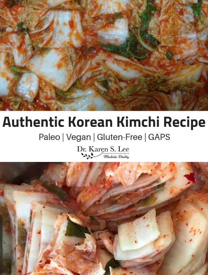 kimchi closeup with title of the recipe authentic korean kimchi recipe