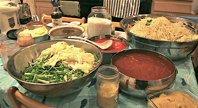 Kimchi ingredients on a table