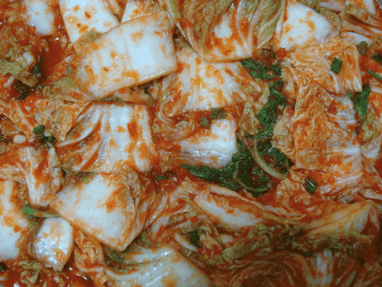 fermented cabbage leaves with red pepper flakes