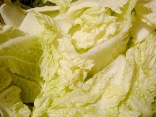 salted cabbage leaves