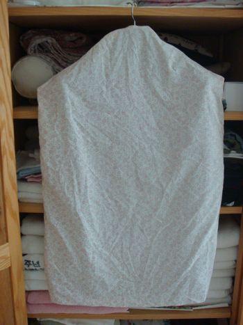 old sheet turned into garment bag