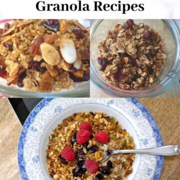 three bowls of different granolas