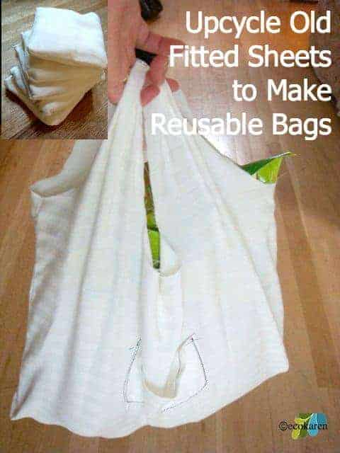 Upcycle fitted sheets into reusable bags