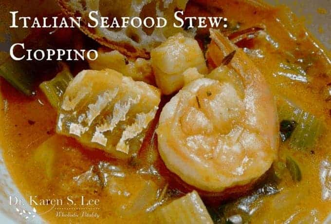 Italian Seafood Stew Cioppino close up