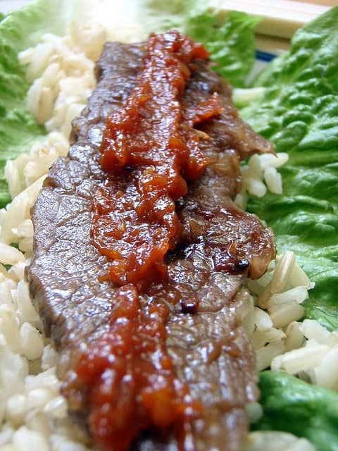 rice, Kalbi, doenjjang, wrapped in lettuce