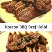 Thinly sliced barbecued short ribs on a yellow plate