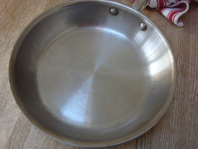 Cleaned stainless steel pan
