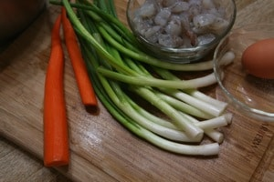 Korean Pancake Ingredients: carrots, scallions, shrimp