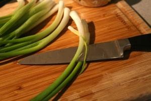 slicing scallions lengthwise