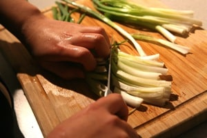 Cut scallions about 3 inches in length