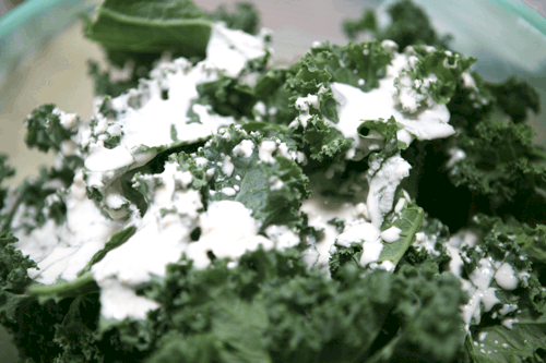 kale with sour cream and onion