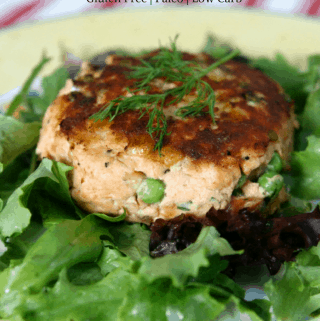 Salmon Cake on a bed of greens