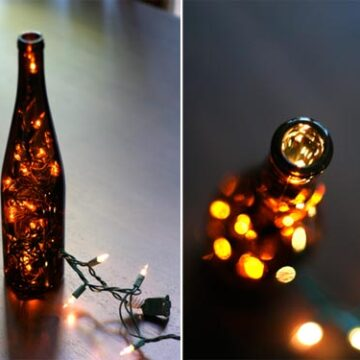 lights inside brown wine bottles
