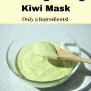a spoonful of kiwi mask in a glass bowl