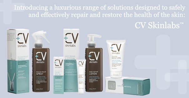 various bottles of rescue and relief from CV Skinlabs