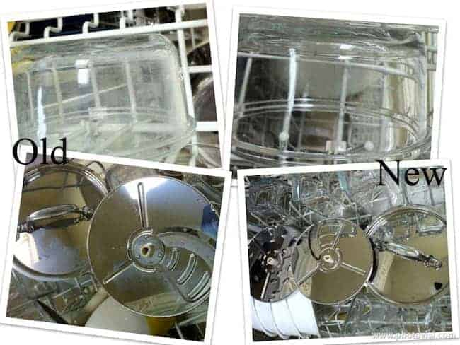 glass container and pot lid in dishwasher rack