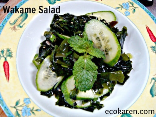 Wakame Salad with cucumbers in yellow bowl