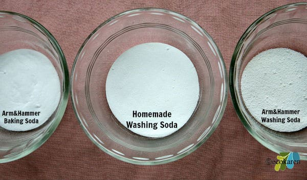 glass bowl of homemade washing soda between glass bowl of arm and hammer baking soda and glass bowl of arm and hammer washing soda