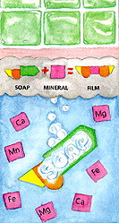 diagram how soap reacts to mineral in water