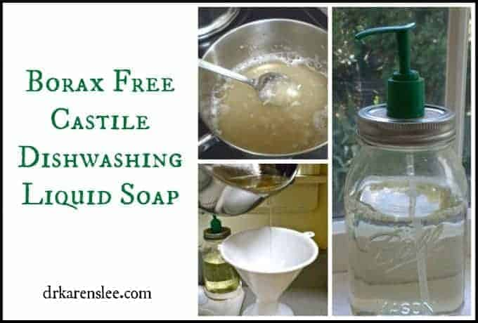 borax free dishwashing soap in glass mason jar with green pump next two pictures of making the dishwashing soap