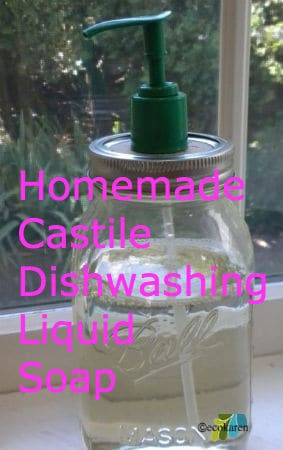 homemade castile dishwashing soap in glass mason jar with green pump
