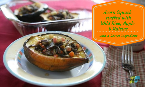 Acorn Squash Stuffed with Wild RIce, Apple and Raisins