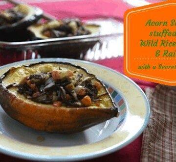Acorn Squash Stuffed with Wild RIce, Apple and Raisins