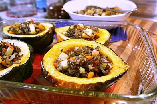 Stuffed Acorn Squash ready for baking