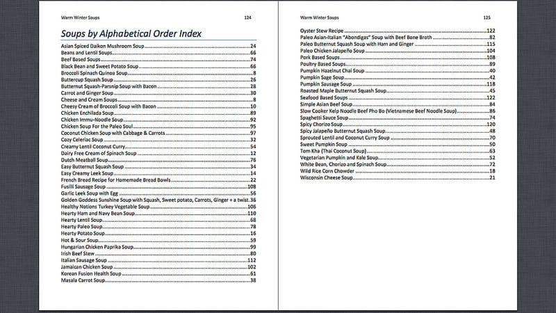 winter soups eBook Index