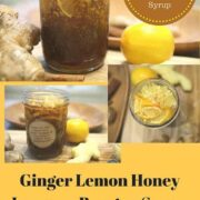 ginger lemon honey syrup in a glass jar
