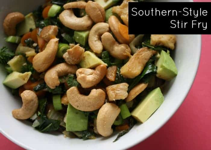 Southern Style Stir Fry in white bowl