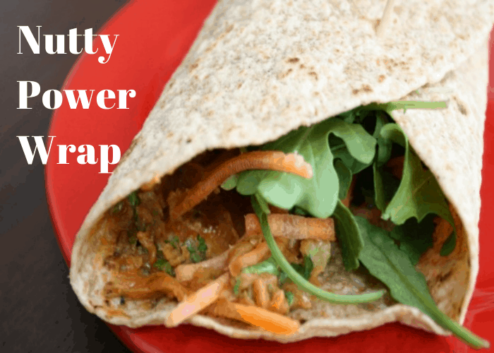 nutty power wrap on red plate