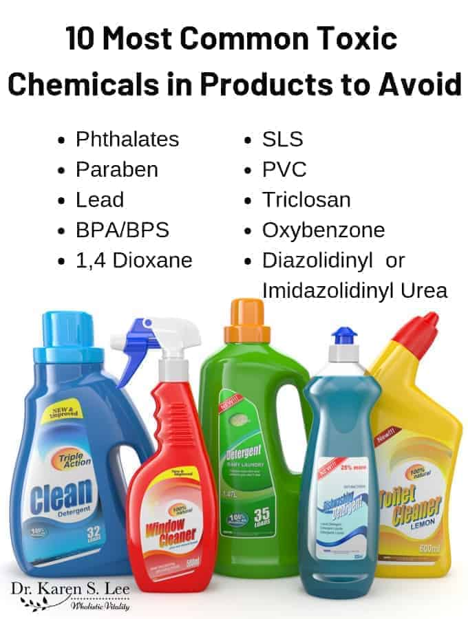 Brightly colored plastic cleaning solution bottles