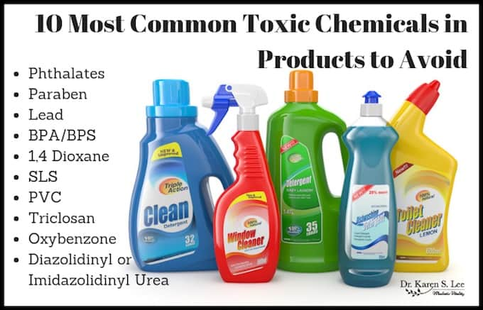 10 most common toxic chemicals title on top of brightly colored bottles