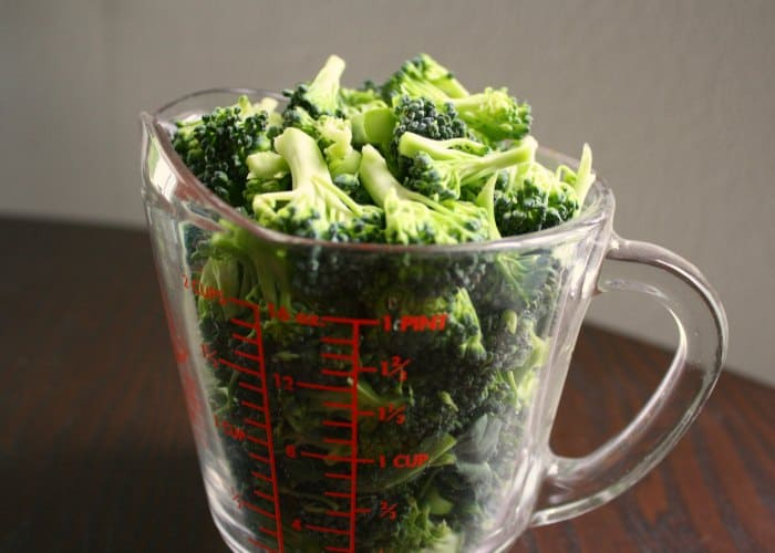 broccoli in two cup pyrex cup