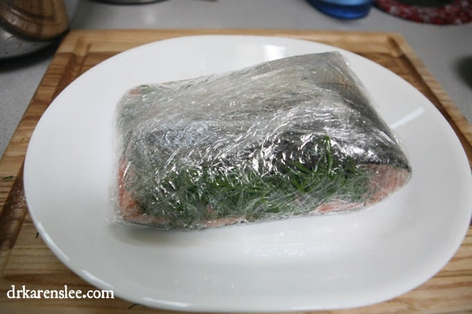 plastic wrapped Gravlax