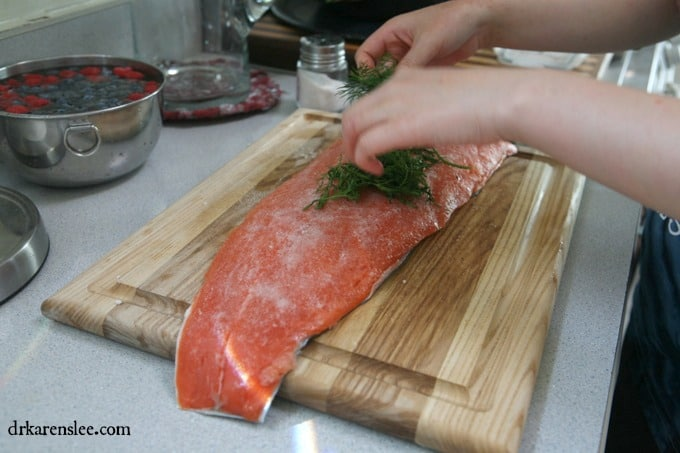dill on salmon for Gravlax
