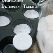 dishwasher detergent tablets in a cupcake pan
