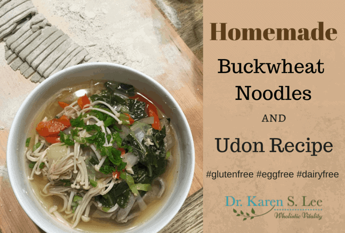 Homemade buckwheat noodles with vegetables in white bowl