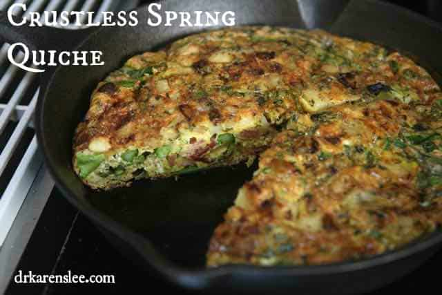 crustless spring quiche in skillet