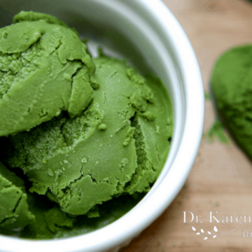 Green Tea Ice Cream in a white bowl