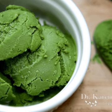 Green Tea Ice Cream in a white bowl