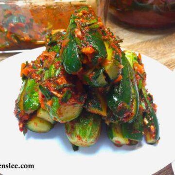 cucumber kimchi on white plate