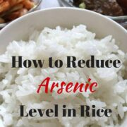 Bowl of white rice with title How to Reduce Arsenic level in rice