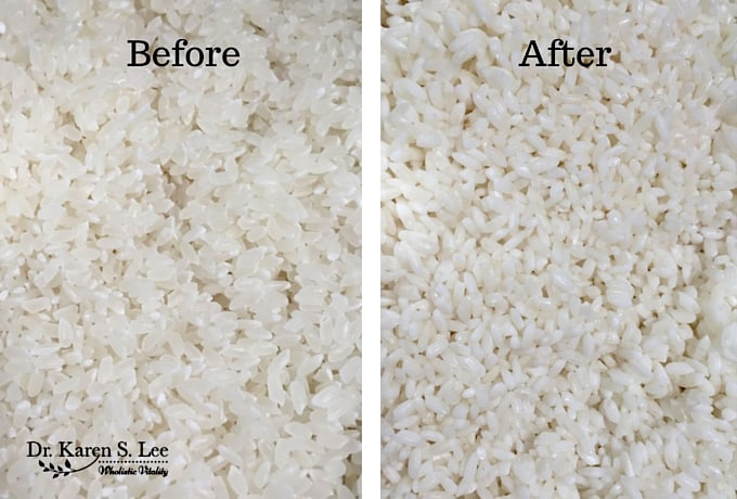 Before and After Soaking Rice drkarenslee