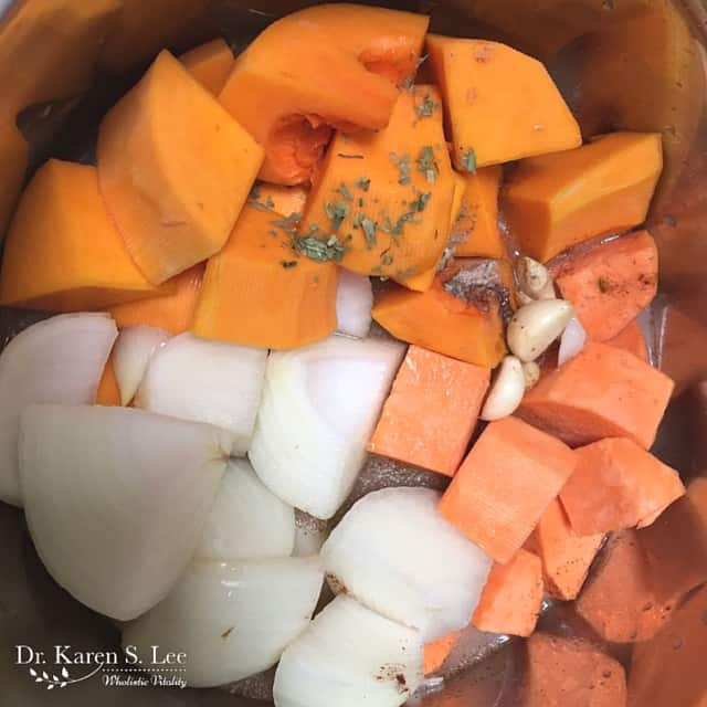 Cut Up Butternut Squash and Sweet Potatoes