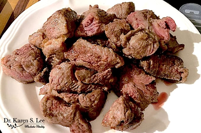 Browned beef cubes